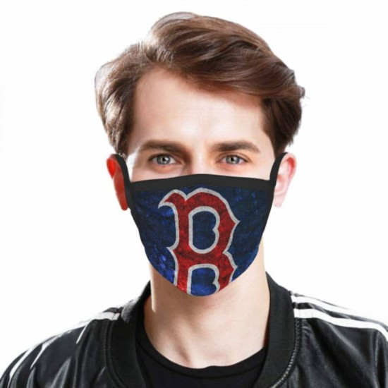 Breathable MLB Boston Red Sox Adult black border face masks #315387 for Men and Women